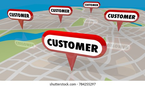 Customer Map Pins Locate New Business Prospects 3d Illustration