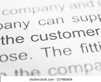 THE CUSTOMER printed on a form close up