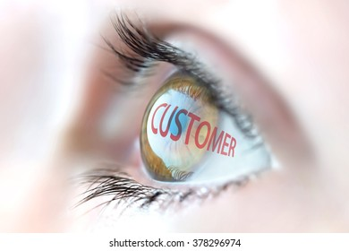 Customer reflection in eye.
