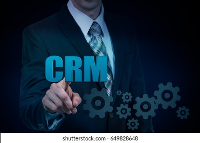 Customer relationship management concept man selecting CRM.