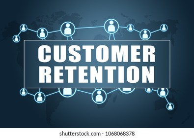 Customer Retention - text concept on blue background with world map and social icons.