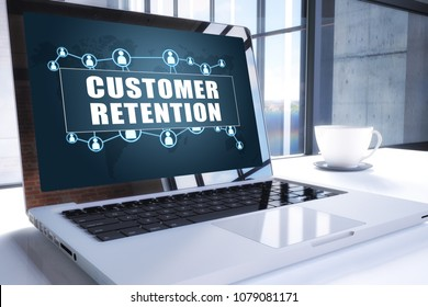 Customer Retention text on modern laptop screen in office environment. 3D render illustration business text concept.