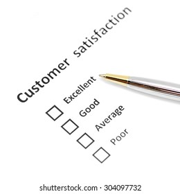 customer satisfaction survey blank form with the pen