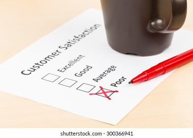 Customer satisfaction survey checkbox with poor tick