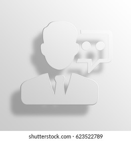 customer service 3D Paper Icon Symbol Business Concept