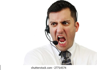 A customer service agent yelling at his client isolated over white