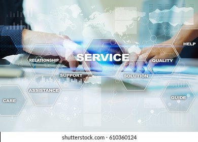 Customer Service business concept. Virtual screen with office workers hands on the background.