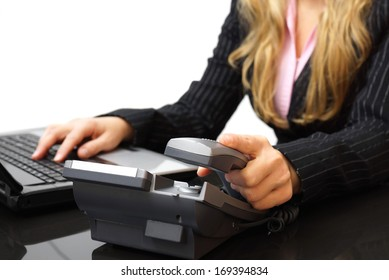 customer service concept businesswoman is answering the phone