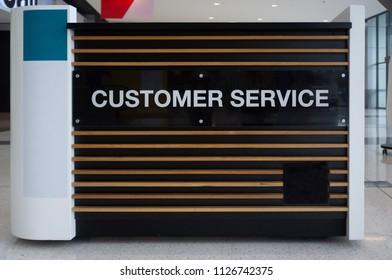 Customer service desk in a shopping mall closeup