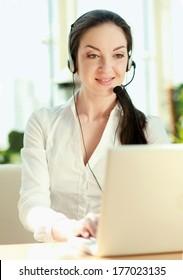 Customer service girl working