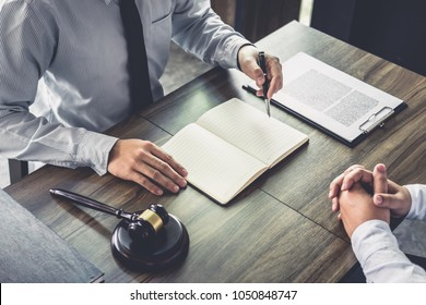 Customer service good cooperation, Consultation between a Businessman and Male lawyer or judge consult having team meeting with client, Law and Legal services concept.