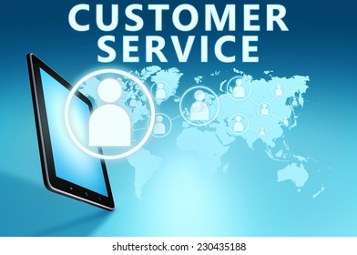 Customer Service illustration with tablet computer on blue background