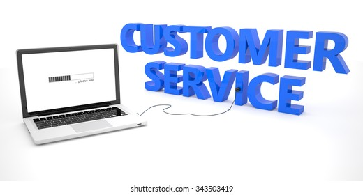 Customer Service - laptop notebook computer connected to a word on white background. 3d render illustration.