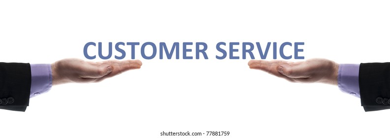 Customer service message in male hands