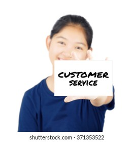 Customer service message on white card concept with young woman smile