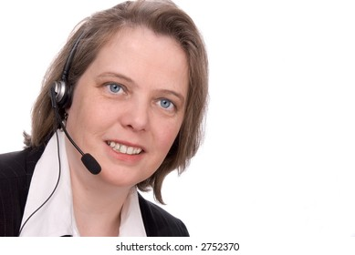 Customer service Representative with headset isolated on white