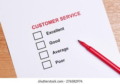 Customer service satisfaction checkbox
