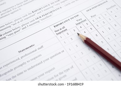 customer service satisfaction survey form close up