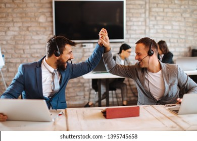 Customer service successful teamwork in office