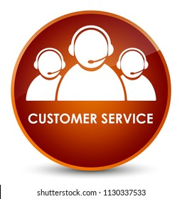 Customer service (team icon) isolated on elegant brown round button abstract illustration