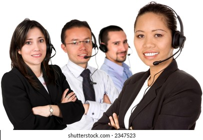 customer service team over a white background led by an asian business woman