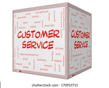 Customer Service Word Cloud Concept on a 3D cube Whiteboard with great terms such as call center, help, staff, rep and more.