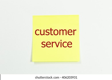 customer service word written on yellow sticky notes.