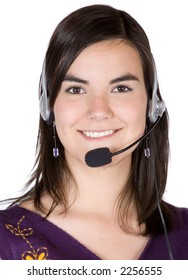 Customer Services girl over a white background