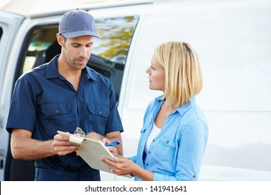Customer Signing For Delivery From Courier