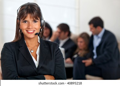 customer support operator woman smiling at the office