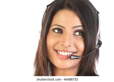 customer support operator woman smiling over a white background