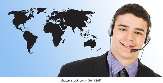 Customer support over the world map
