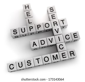Customer support service crossword. Clipping path included for easy selection.