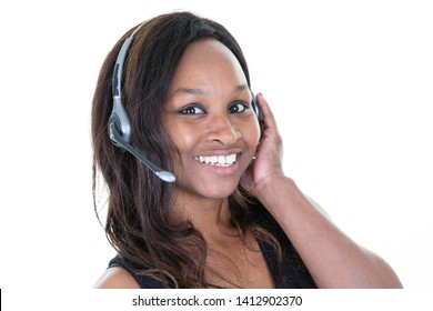 Customer woman afro service and support representative with headset