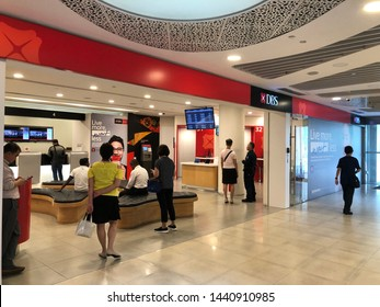 Customers at a DBS branch office with ATM machine, Singapore Alexandra Branch, 3 Jul 19