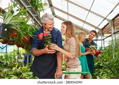 Customers and employees talking in a nursery shop together