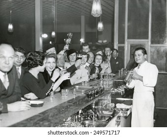 Customers at a Philadelphia bar after Prohibition's end, Dec. 1933.