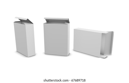 customizable blank paper box, isolated on white background.