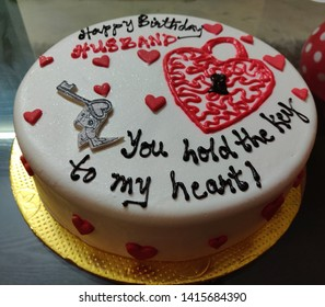 Customized Birthday Cake For Husband With Text You Hold The Key To My Heart