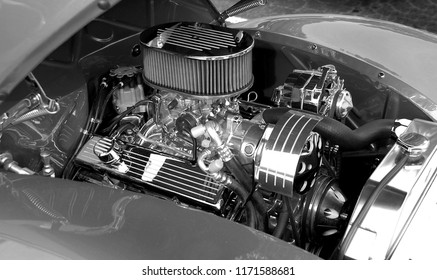 Customized car engine displayed at classic auto show