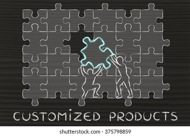 Customized Products: metaphor of men completing an oversized puzzle