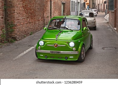 customized sports car Fiat 500 Abarth lead a group of classic cars during the 24th Meeting auto vintage in November 11, 2018 in Bagnacavallo, RA, Italy