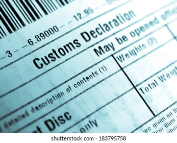 Customs declaration on a foreign packet parcel - cool cyanotype