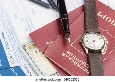 customs declaration russian travel passports and fountain pen