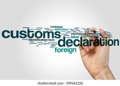Customs declaration word cloud concept