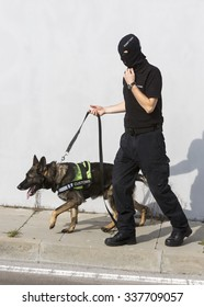 Customs officer and his dog are participating in a training for drugs detection in Sofia's airport. The dogs are trained to find drugs smuggled in the luggage.