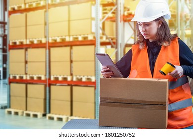 Customs registration. Girl with a scanner in the warehouse. Woman works on customs. Woman uses a barcode scanner. Passage of goods across the border. Customs officer registers postal items.