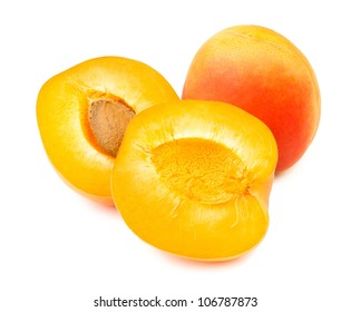 cut apricot on white background