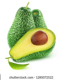 Cut avocado fruits isolated on white background with clipping path