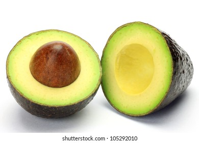 I cut avocado to half and took it in a white background.